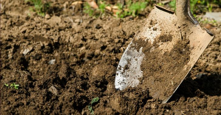 畑の土とスコップ